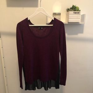 Purple Sweater with Black Sheer Back